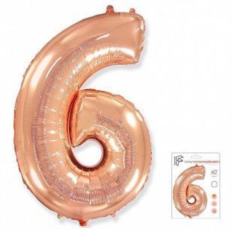 Цифра шесть - розовое золото