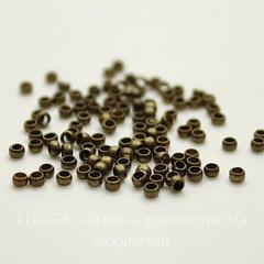 Кримпы - зажимные бусины 2х1,2 мм (цвет - античная бронза) 2 гр (около 180 штук)