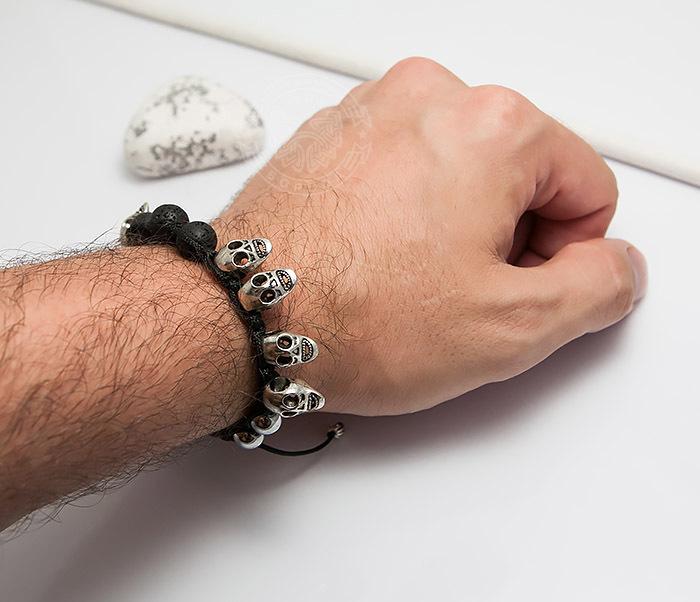 BS552 Мужской браслет шамбала из вулканической лавы и черепов. «Boroda Design» фото 06