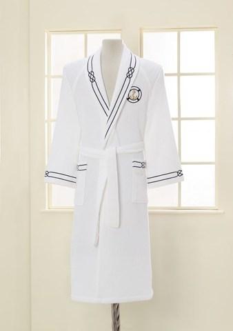 Мужской махровый банный халат MARINE белый