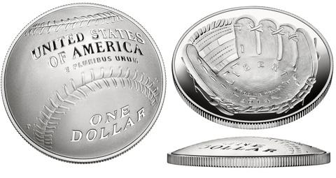 1 доллар 2014 год. Бейсбол Национальный зал славы бейсбола. США. Серебро. PROOF