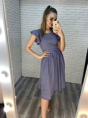платье из синего льна купить