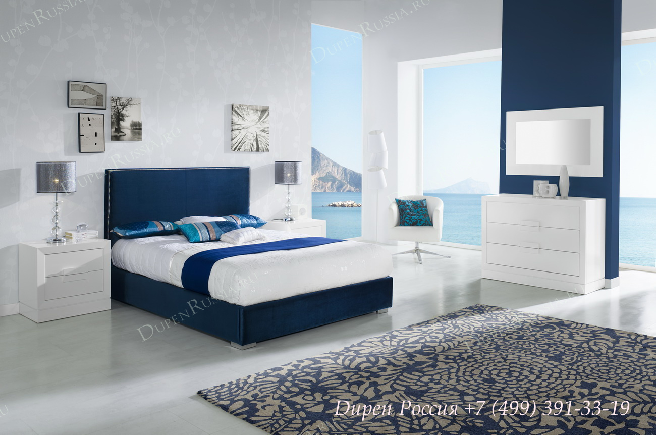 Кровать DUPEN 872, Тумба прикроватная DUPEN М-128 Белый, Комод DUPEN С-128 Белый