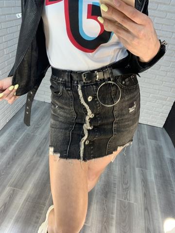 серая джинсовая юбка недорого