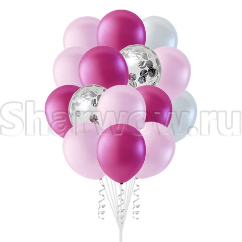 Воздушные шары розовые с конфетти