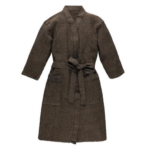 Банный халат RENTO коричнево-серый вафельный