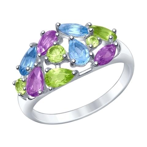 92011378 - Кольцо из серебра с миксом полудрагоценных камней