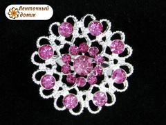 Брошь с розовыми камнями на серебре № 35