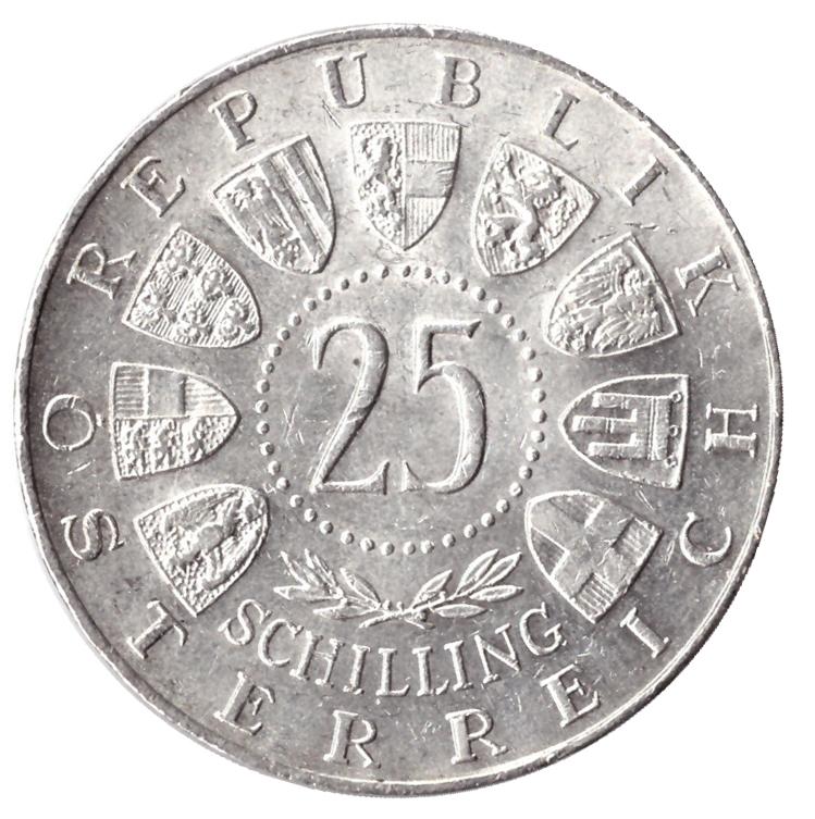 25 шиллингов 1961 год 40 лет Бургерланду, Австрия. XF-AU