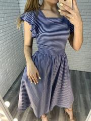 платье из синего льна недорого
