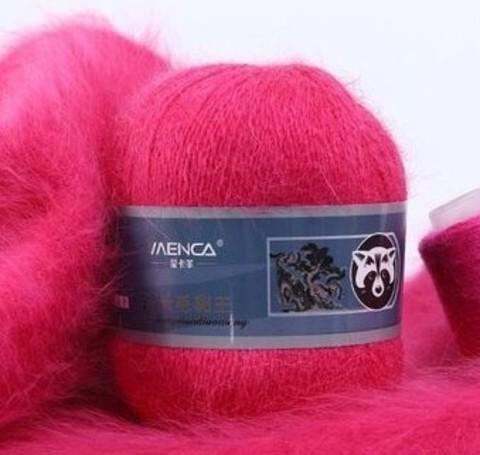 Пряжа Пух норки 857 ярко-розовый неон