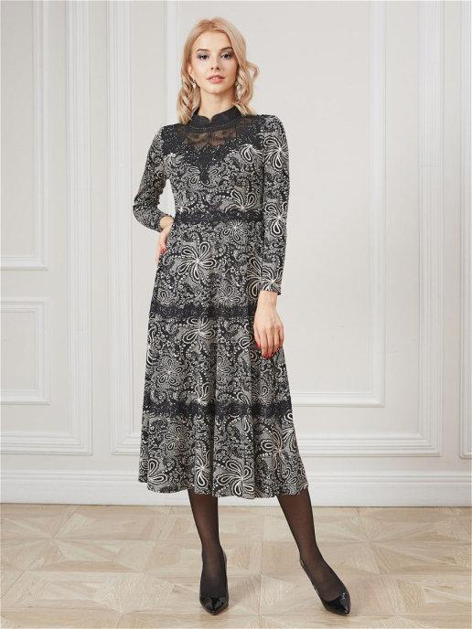 Платье pl-70803C/черный-коричневый