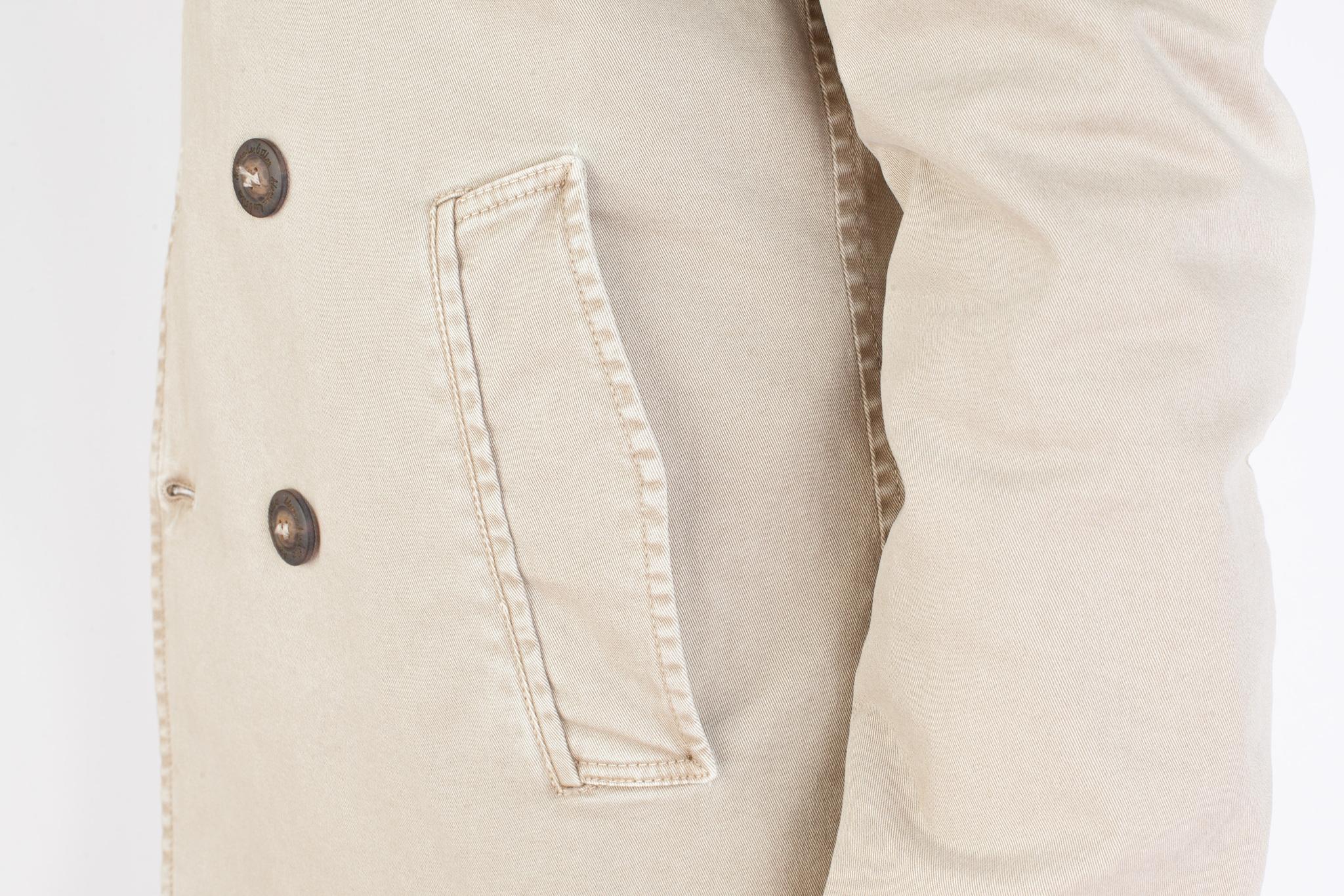 Бежевый хлопковый бушлат с капюшоном, накладной карман
