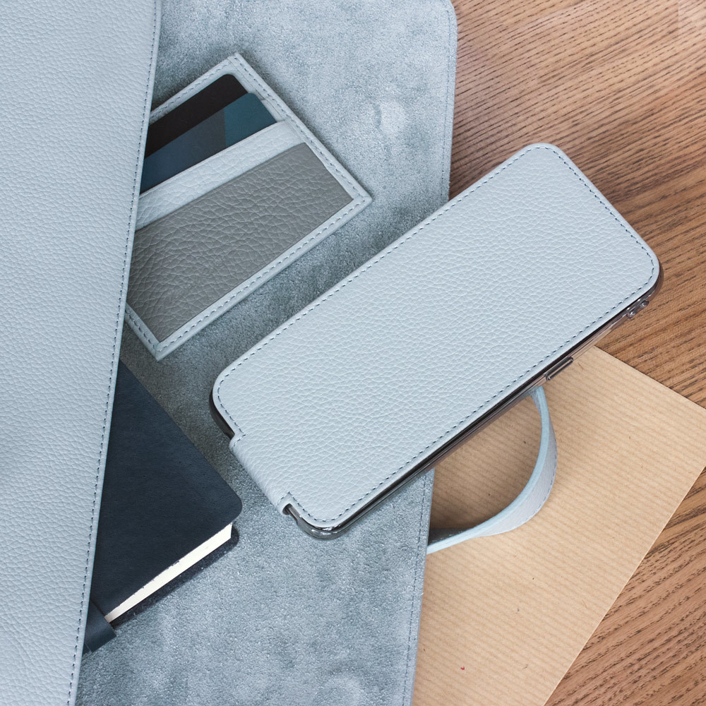 Чехол для Samsung Galaxy S9 из натуральной кожи теленка, голубого цвета