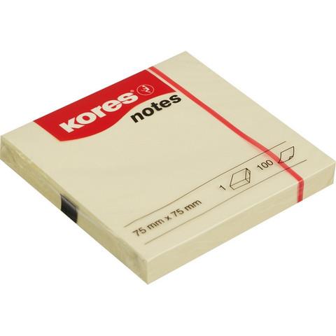 Стикеры Kores 75x75 мм пастельные желтые (1 блок, 100 листов)