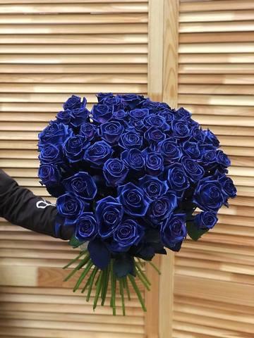 Букет из 51 синей розы 60 см #18106