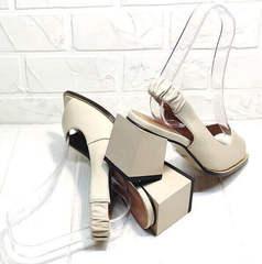 Летняя кожаная обувь женская - бежевые босоножки на устойчивом каблуке Brocoli H150-9137-2234 Cream.