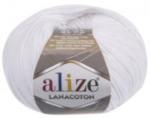 Пряжа Alize Lanacoton 55 белый
