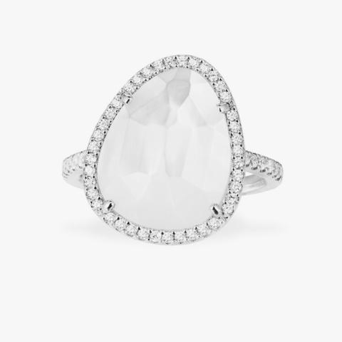 Кольцо из серебра с перламутровым кварцем в стиле APM