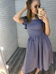 платье из синего льна интернет магазин