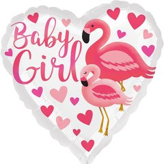 А 18''/46см, Сердце, Малыш девочка (фламинго).