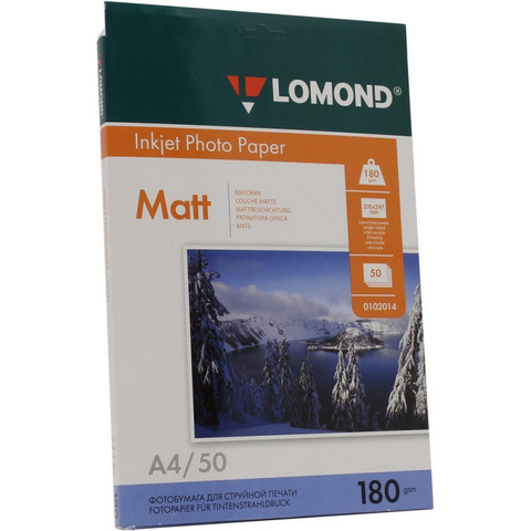 Фотобумага LOMOND односторонняя матовая 180г A4 50л 0102014