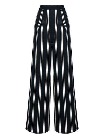 Женские брюки в черно-молочную полоску из шерсти - фото 1