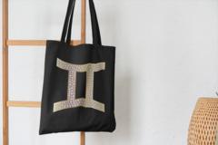 Сумка-шоппер с принтом Знаки Зодиака, Близнецы (Гороскоп, horoscope) черная 003