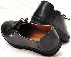 Casual кожаные мокасины женские кроссовки без шнурков EVA collection 151 Black.
