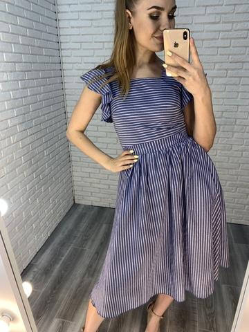 платье из синего льна nadya