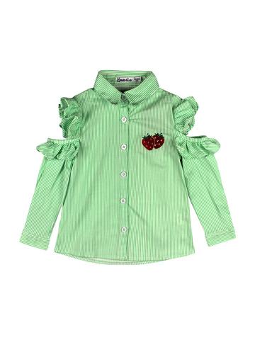 Рубашка для девочек, стрейч поплин, в полоску с вышивкой купить