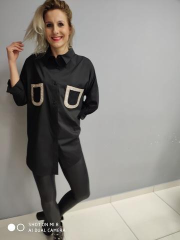 D Блузка Manila рубашка карманы черная