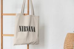 Сумка-шоппер с принтом Нирвана (Nirvana) бежевая 005