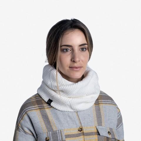 Вязаный шарф-труба с флисом Buff Neckwarmer Knitted Polar Rraisa White фото 2