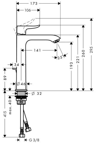 Смеситель для раковины высокий Hansgrohe Metris 200,  31183000 схема
