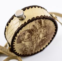 Фляга круглая в кожаном чехле Охота, 500 мл, фото 2