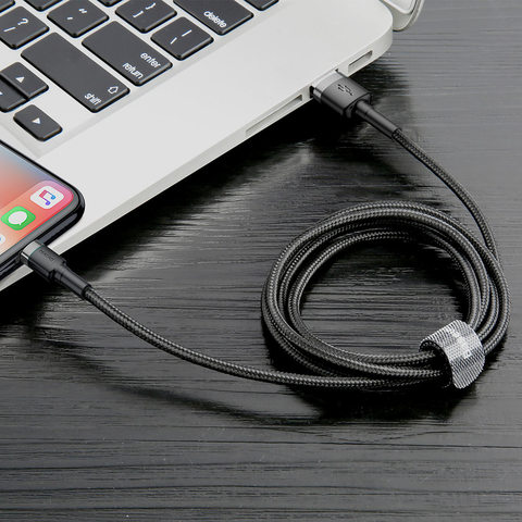 Кабель Baseus cafule Cable USB For lightning 2.4A 0.5M Gray+Black