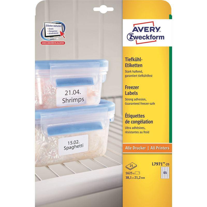Этикетки самоклеящиеся Avery Zweckform морозостойкие белые 38.1x21.2 мм (65 штук на листе А4, 25 листов, артикул производителя L7971-25)