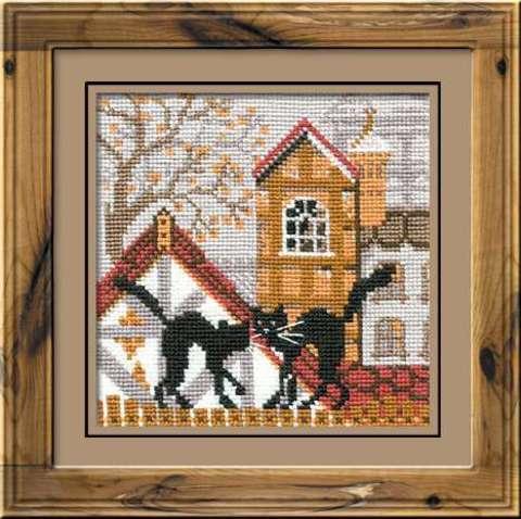 Набор для вышивания крестом «Город и кошки. Осень» (613)