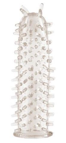 Прозрачная насадка на фаллос с шипами - 11,5 см.