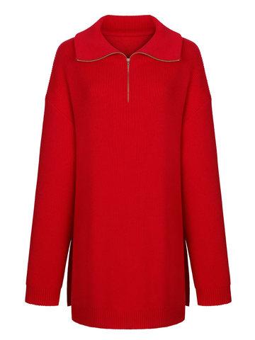 Женский свитер красного цвета из шерсти и кашемира - фото 1