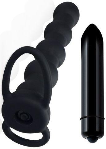 Черная вибронасадка для двойного проникновения Rock Balled Double Prober - 16 см.