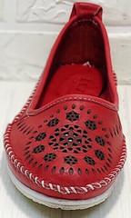 Летние туфли балетки кожаные Rozen 212 Red.