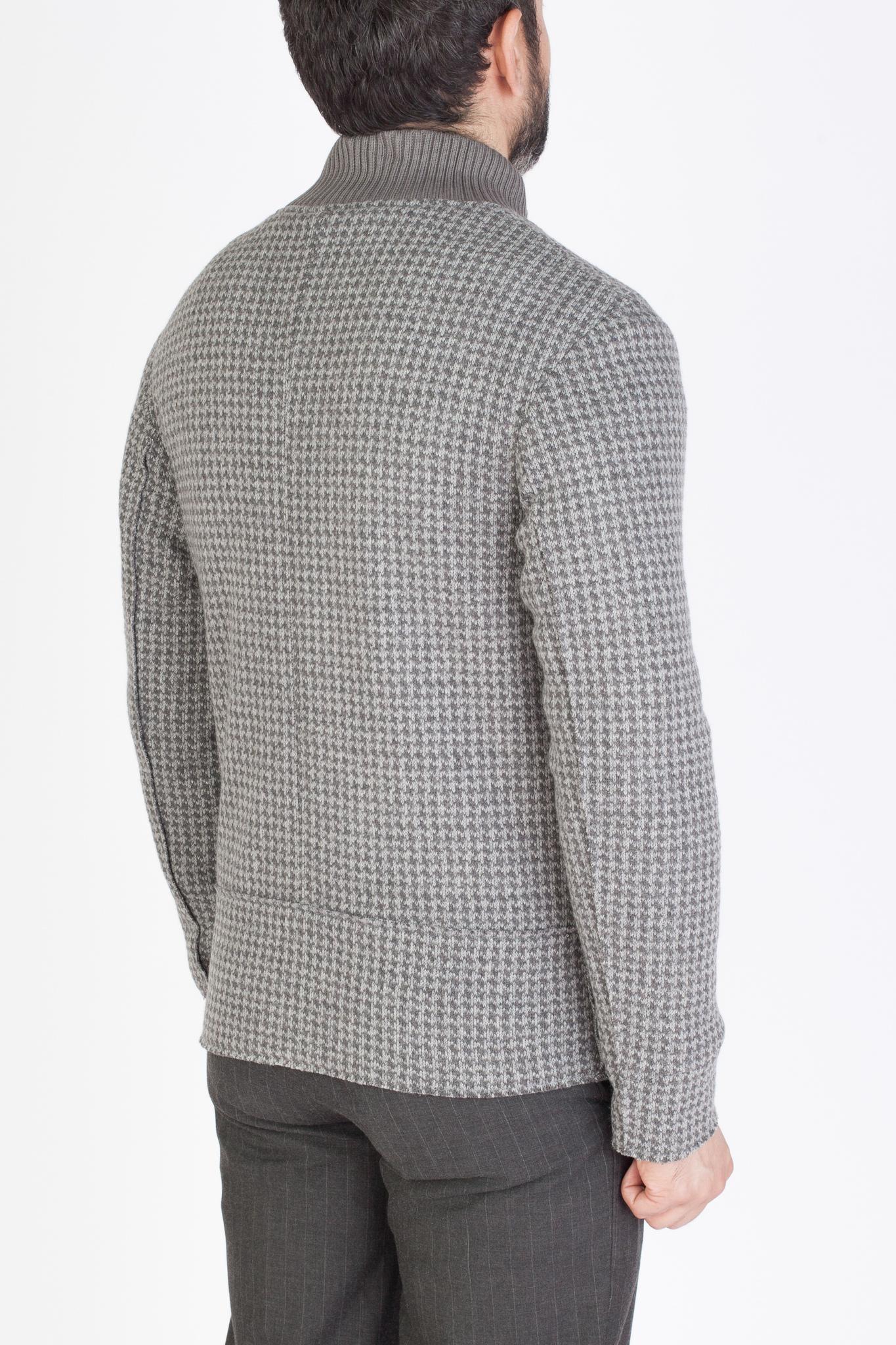 Лёгкая серая короткая куртка из смеси синтетики и шерсти с узором «гусиная лапка»