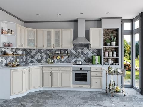 Кухня Шале-3 белый, ivory