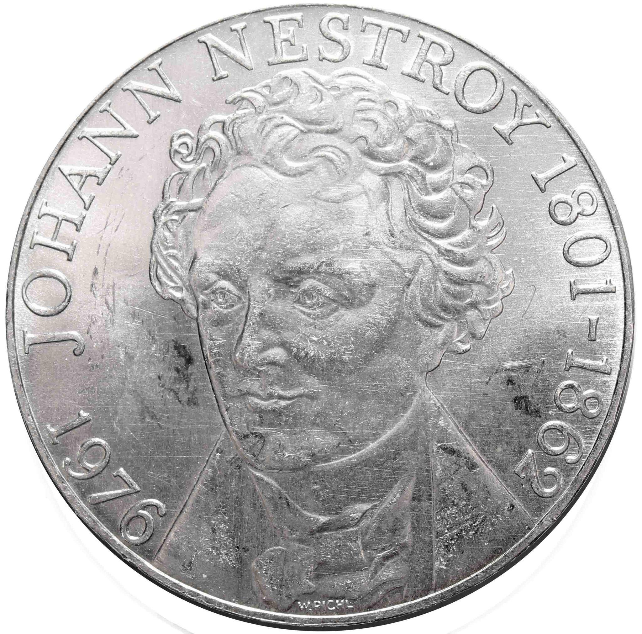 100 шиллингов. 175 лет со дня рождения актера и певца Иоганна Нестроя. 1976 год. Серебро. AU