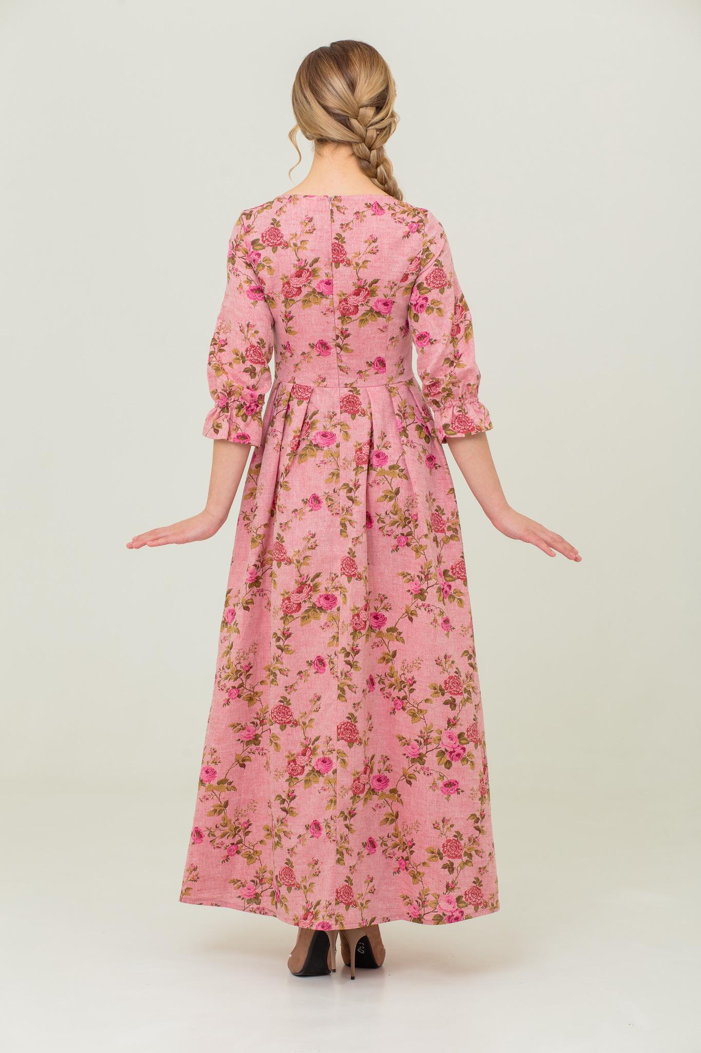 Вечернее платье в пол с цветочным принтом