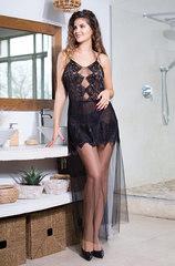 Эротическая черная сорочка из сетки с кружевом