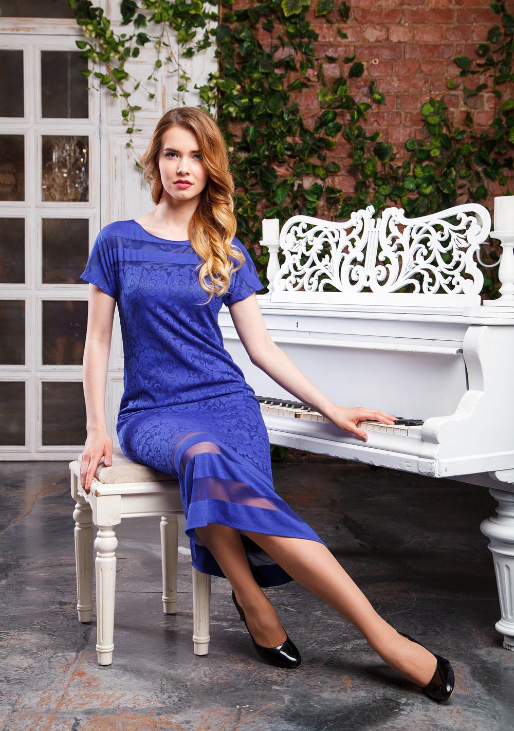 Платье З250а-488 - Платье, из мягкого пластичного кружева на трикотажной подкладке Элегантная модель приталенного силуэта с цельнокроеным рукавом. В нем вы будете чувствовать себя уверенно на любом праздничном мероприятии.