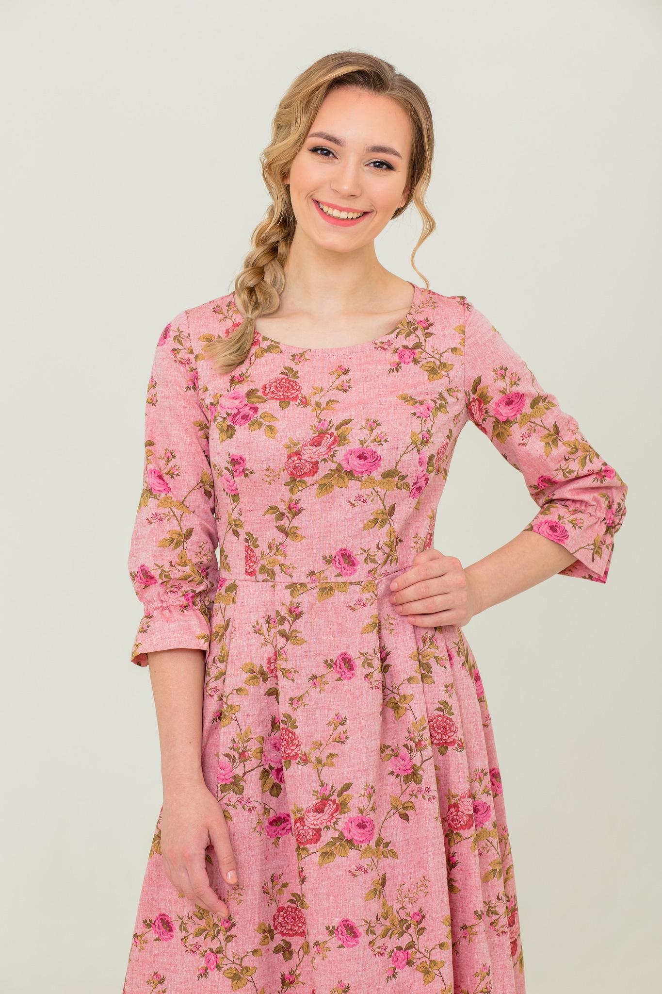 Платье с длинным рукавом в русском стиле Персиковое